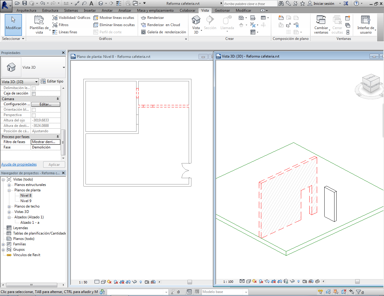 Vista en Revit de la demolición.