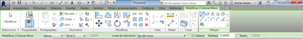 Crear muros con revit - ficha modificar